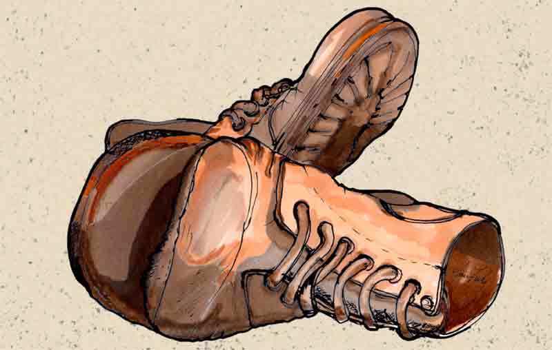 Illustration well worn old Boots